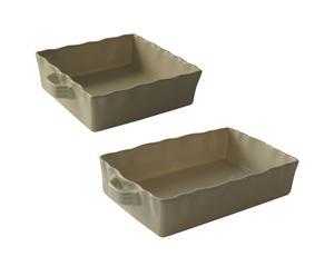 Set de 2 bandejas de cerámica grande - marfil