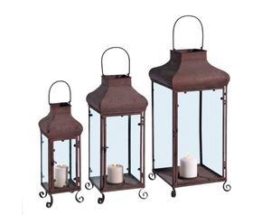Set de 3 farolillos de hierro forjado