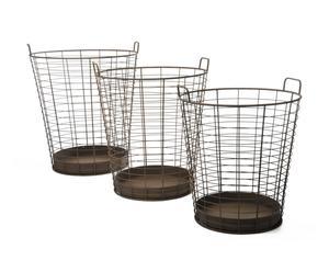 Set de 3 cestas de hierro forjado