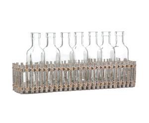 Bandeja con 7 botellas de cristal