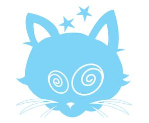 1 sticker chat phosphorescent, bleu ciel