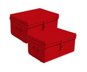 Set de 2 cajas metálicas – rojo