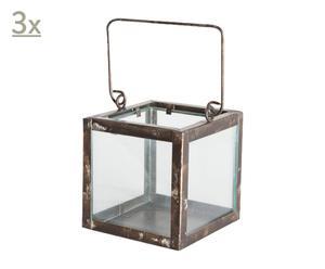 Set de tres faroles de vidrio y metal