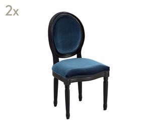 Set de 2 sillas medallón de terciopelo