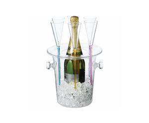 Cubo enfriador y 6 copas de champán