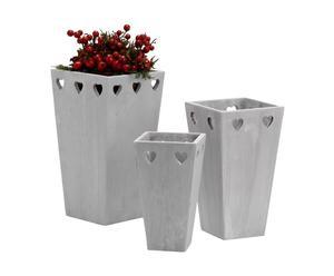 Set de 3 maceteros de cemento – Gris