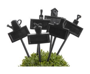 Set de 6 letreros para plantas de hierro - negro
