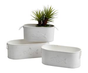 Set de 3 jardineras de metal – Blanco
