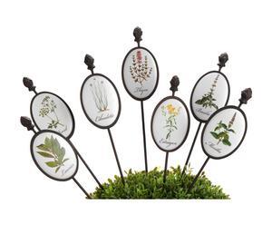 Set de 7 sticks para planta de metal - blanco y Negro