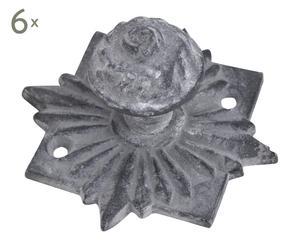 Set de 6 tiradores de cajón de hierro - gris