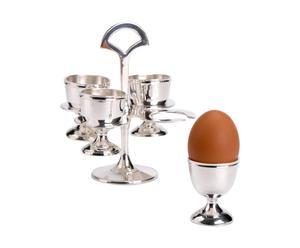Set de 4 copas para huevos con soporte de metal - plata