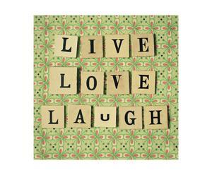 Lienzo Live, love, laugh – 40x40