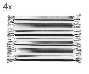 Set de 4 manteles individuales de algodón – azul marino y blanco