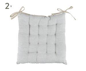 Set de 2 cojines para sillas –blanco y gris
