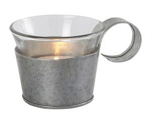 Portavelas en vidrio y acero galvanizado - gris