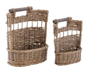 Set de 2 cestas con asa en mimbre - natural