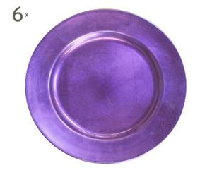 Set de 6 platos de plástico - púrpura