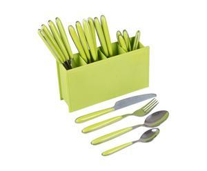 Set de 24 cubiertos de acero inoxidable - verde