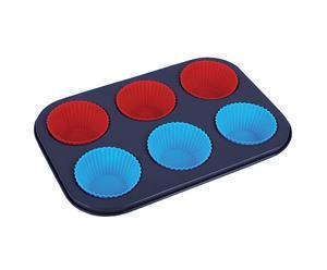 Bandeja con 6 moldes de silicona – azul y rojo