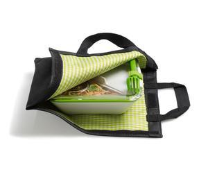 Set de 1 Lunch box y 1 bolsa isotérmica – verde, blanco y negro