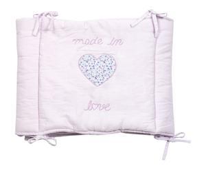 Protector de cuna de algodón Love - rosa claro