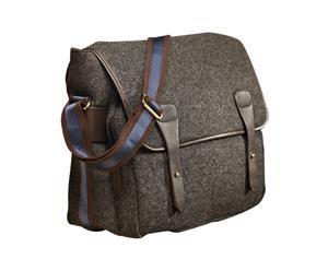 Bolso de cuero y lana – gris