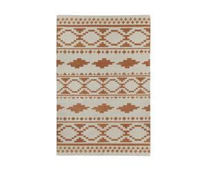 Alfombra de lana, naranja y marfil - 244x153