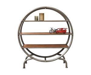 Estantería redonda en madera y metal - natural