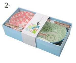 Set de 4 boles de porcelana y palillos SHAN - rojo y verde