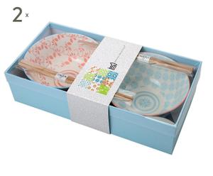 Set de 4 boles de porcelana y palillos MARG - rojo y azul