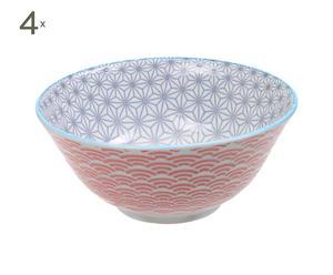 Set de 4 boles de porcelana DONG – violeta y rojo