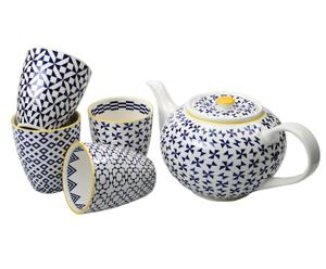 Set de Tetera y 4 tazas a juego de porcelana JAME - azul