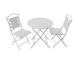 Set de mesa redonda y 2 sillas plegables de acero Flora – blanco