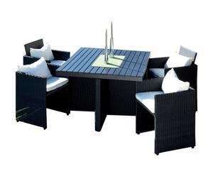 Set de mesa con 4 sillas de exterior - negro