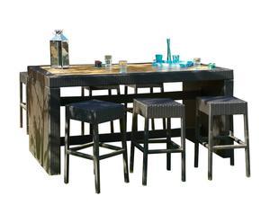 Set de mesa de bar con 6 taburetes