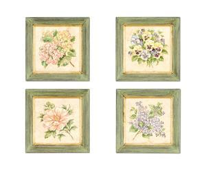 Set de 4 cuadros de madera Flores de primavera, cuadrados - verde