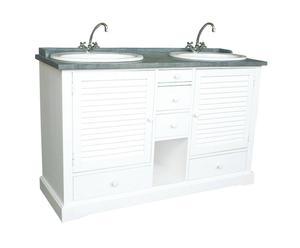 Mueble de baño de madera y pizarra, doble - blanco