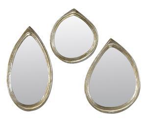 Set de 3 espejos en resina Gotas - plata