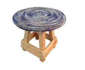 Taburete de madera y paja LOLA - azul