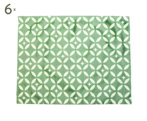 Set de 6 manteles individuales Mosaique, verde – 35x45