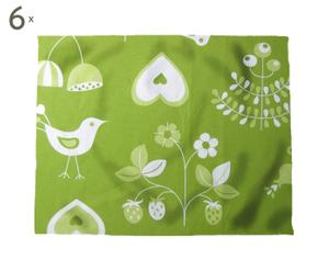 Set de 6 manteles individuales Folk, verde – 35x45