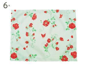 Set de 6 manteles individuales Roses, verde y rojo – 35x45