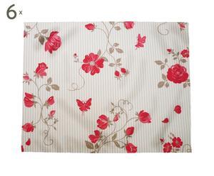 Set de 6 manteles individuales Roses, topo y rojo – 35x45