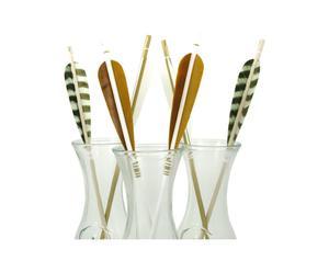 Set de 6 flechas de madera y plumas – blanco y dorado