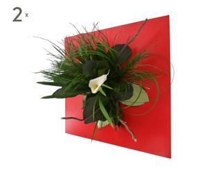 Decoración floral Alia – verde y rojo