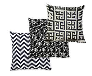 Set de 3 fundas de algodón– blanco y negro