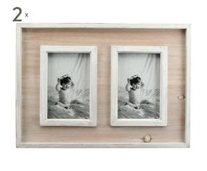 Set de 2 Marcos de fotos de madera y vidrio - blanco y natural