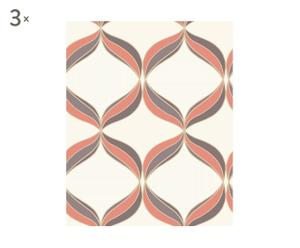 Set de 3 rollos de papel pintado Ennis - naranja