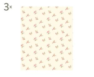 Set de 3 rollos de papel Rosebud, beige y rosa - 10 m