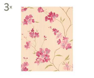 Set de 3 rollos de papel pintado, rosa y beige - 30 m